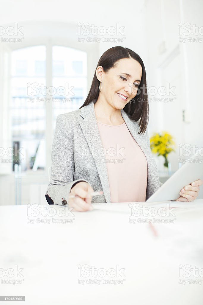Interior designer working with digital tablet stock photo