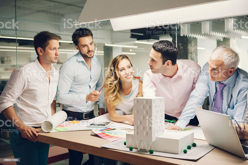 Interior Designers and architects expertise architectural model in the office. stock photo