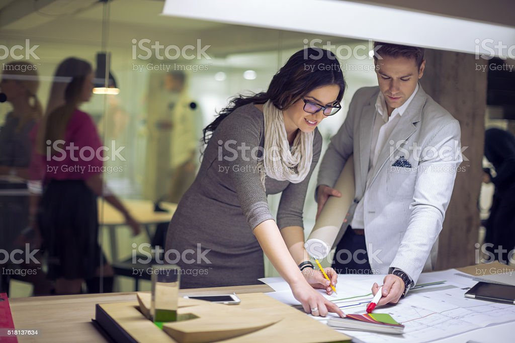Interior designers choosing color stock photo