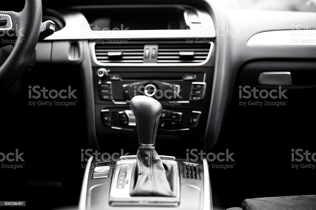 Interior details and elements of modern car, automatic stock photo