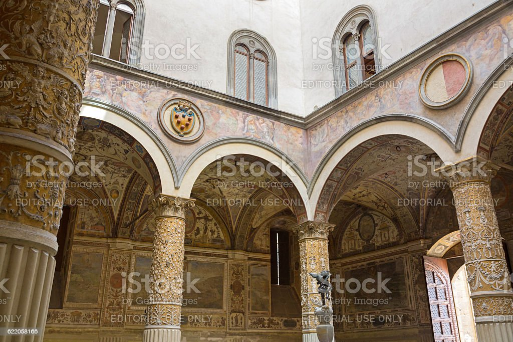 Interior details of Old Palace, Palazzo Vecchio'€™s first Courtyard, Florence stock photo