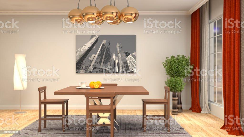Interior dining area. 3d illustration stock photo