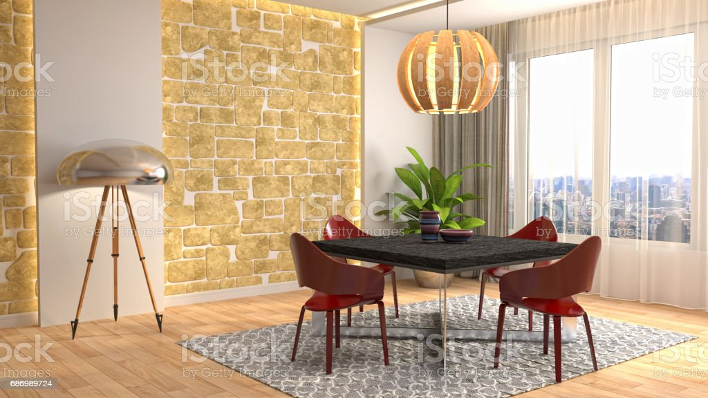 Interior dining area. 3d illustration stock photo