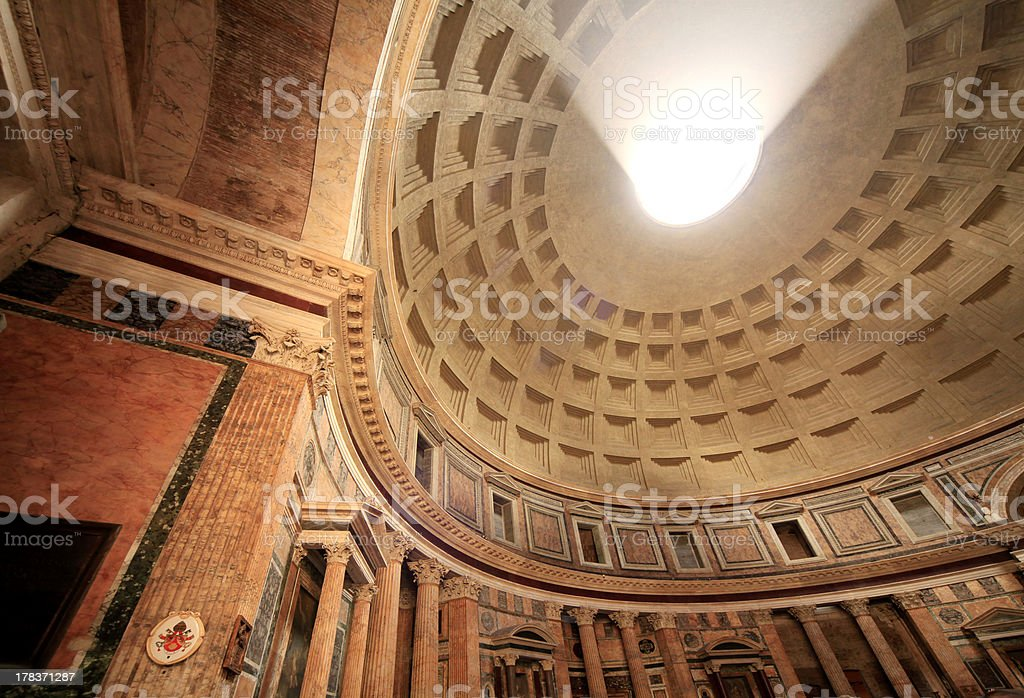 Interior Dome, Column and Walls of Pantheo Lit by Sunlight royalty-free stock photo