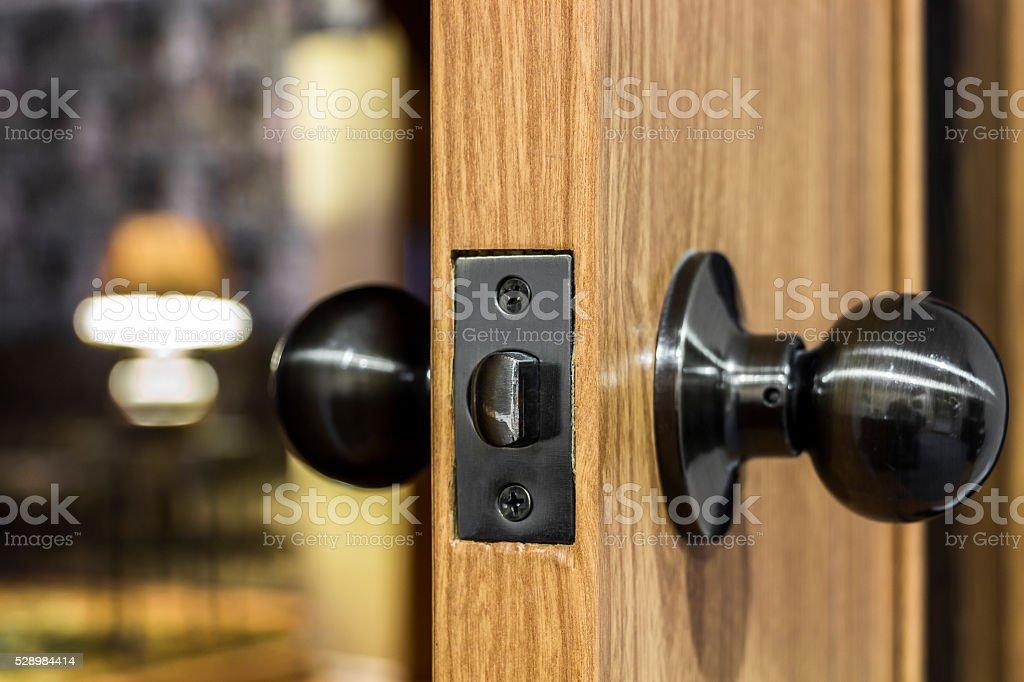 Interior door handle closeup stock photo