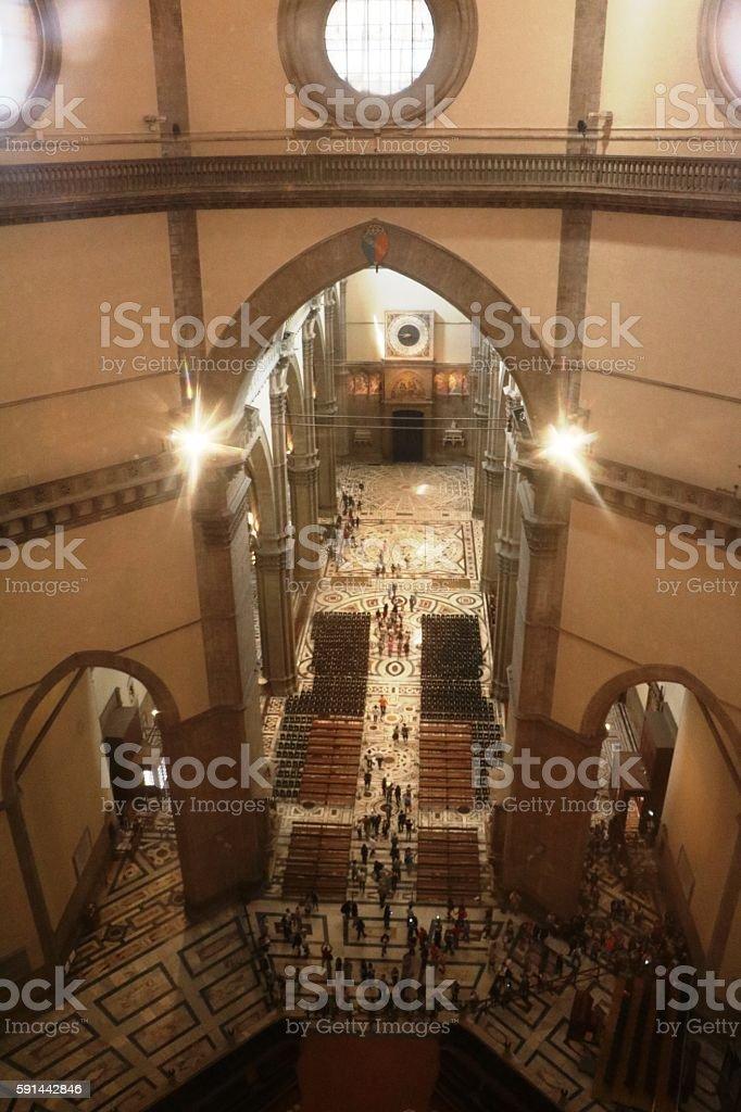 Interior Duomo of Santa Maria del Fiore in Florence, Italy stock photo