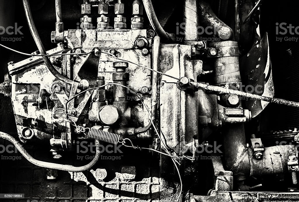 Interior Engine Block of a Large Industrial Machine stock photo