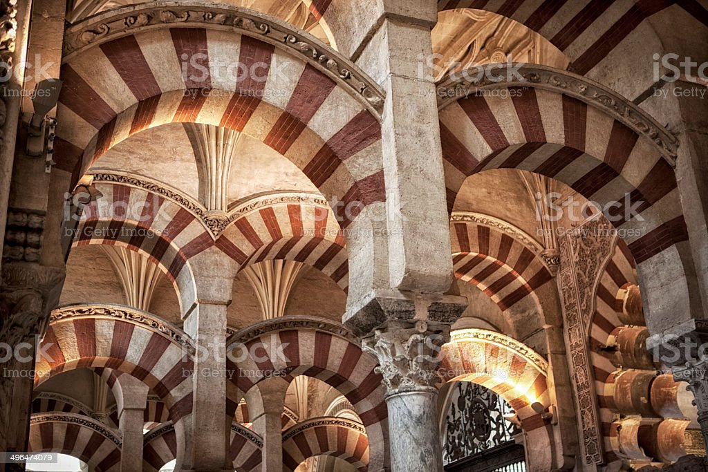 Interior from famous Mesquita mosque in Cordoba. royalty-free stock photo