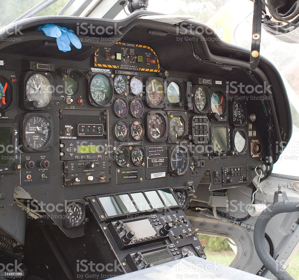 Interior gagues of a helicopter royalty-free stock photo