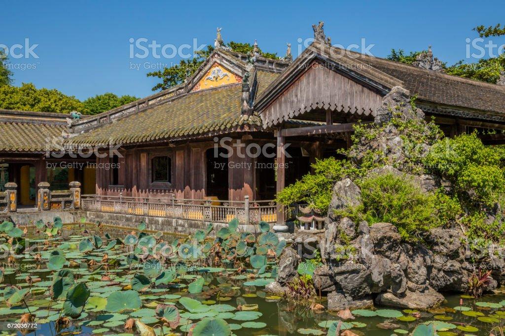 Interior Garden of water lilies in Hue, Vietnam stock photo