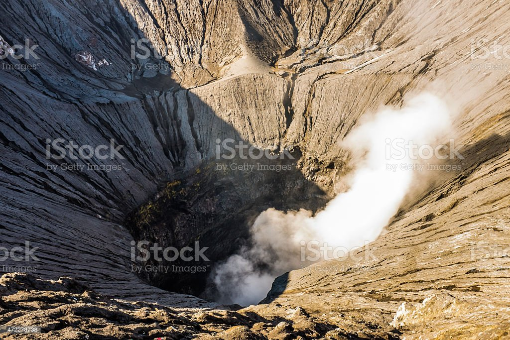 Interior glimpse of the Bromo volcano crater in Indonesia stock photo