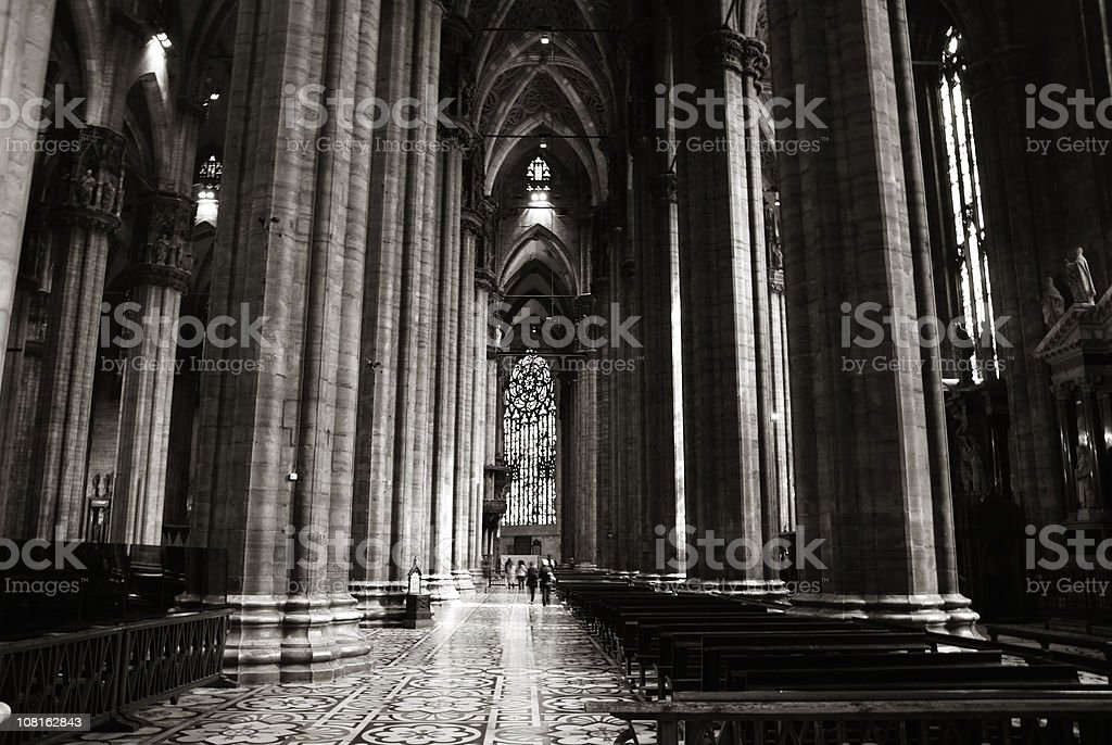 Interior Gothic Style Cathedral of Milan, Black and White royalty-free stock photo