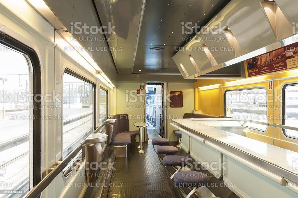 Interior high speed train AVE Atocha Station Madrid Spain stock photo