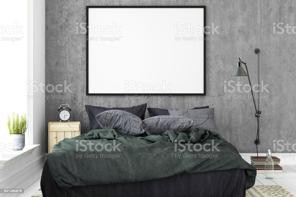 Interior hipster blank picture poster frame template. stock photo