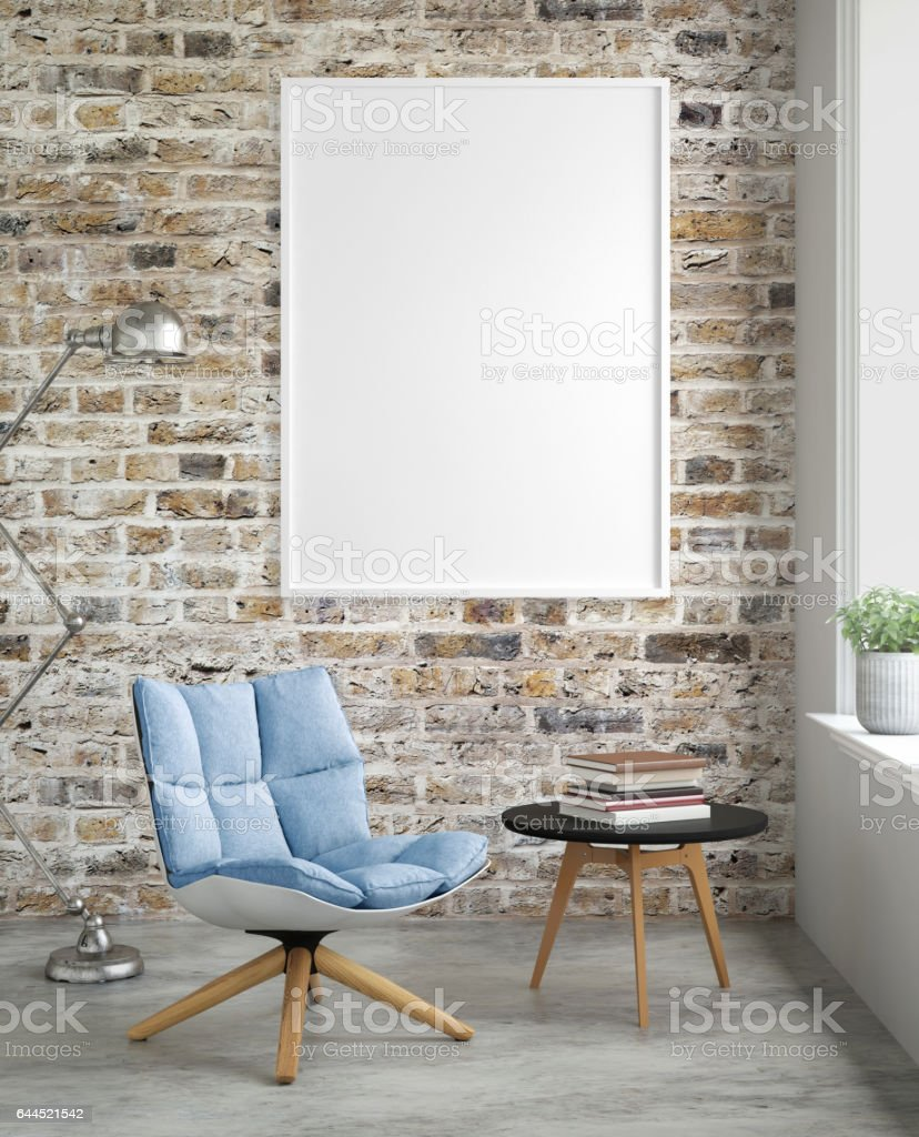 Interior hipster blank picture poster frame template stock photo