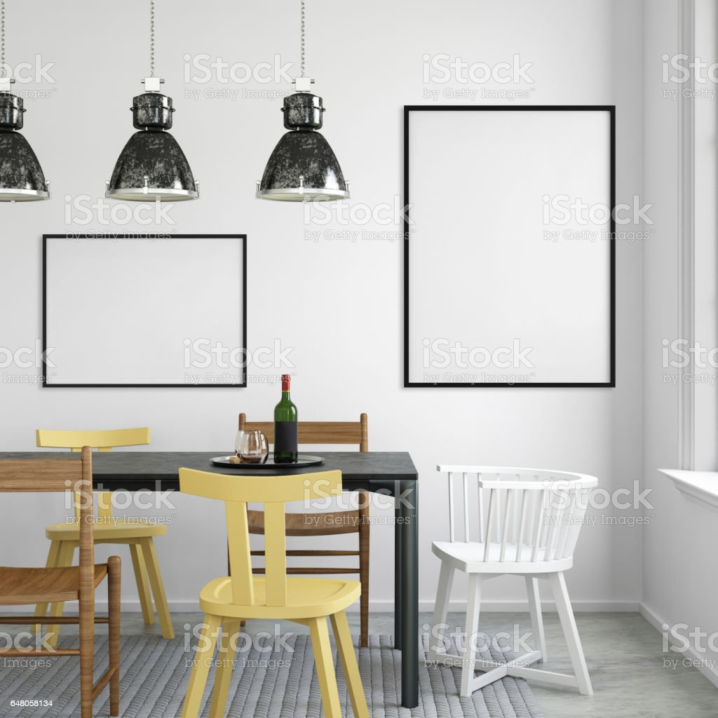 interior hipster dining room empty wall stock photo 648058134 | istock