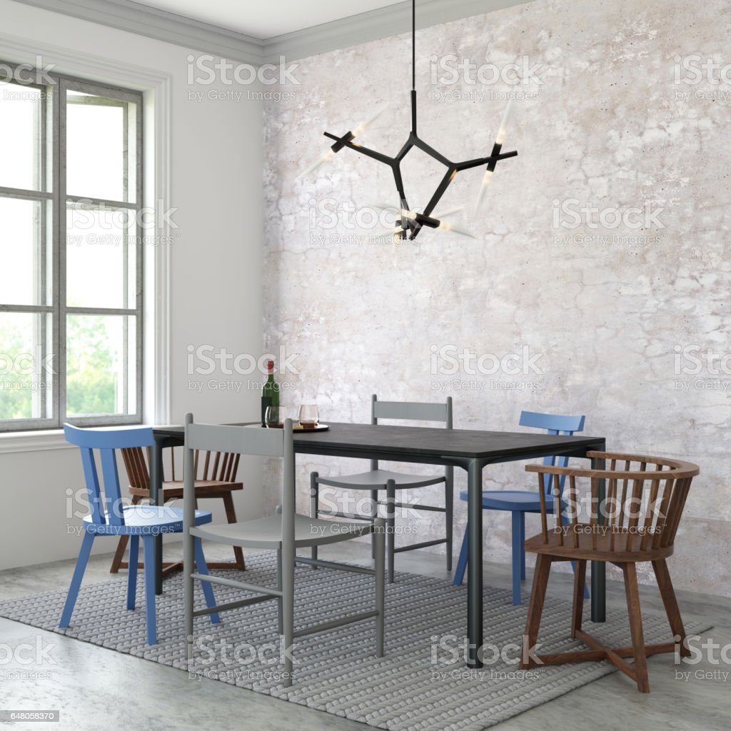Interior hipster dining room empty wall stock photo