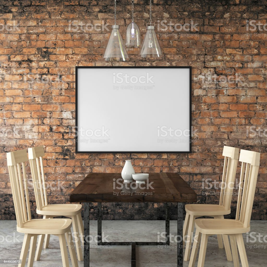 Interior hipster picture poster picture frame template stock photo