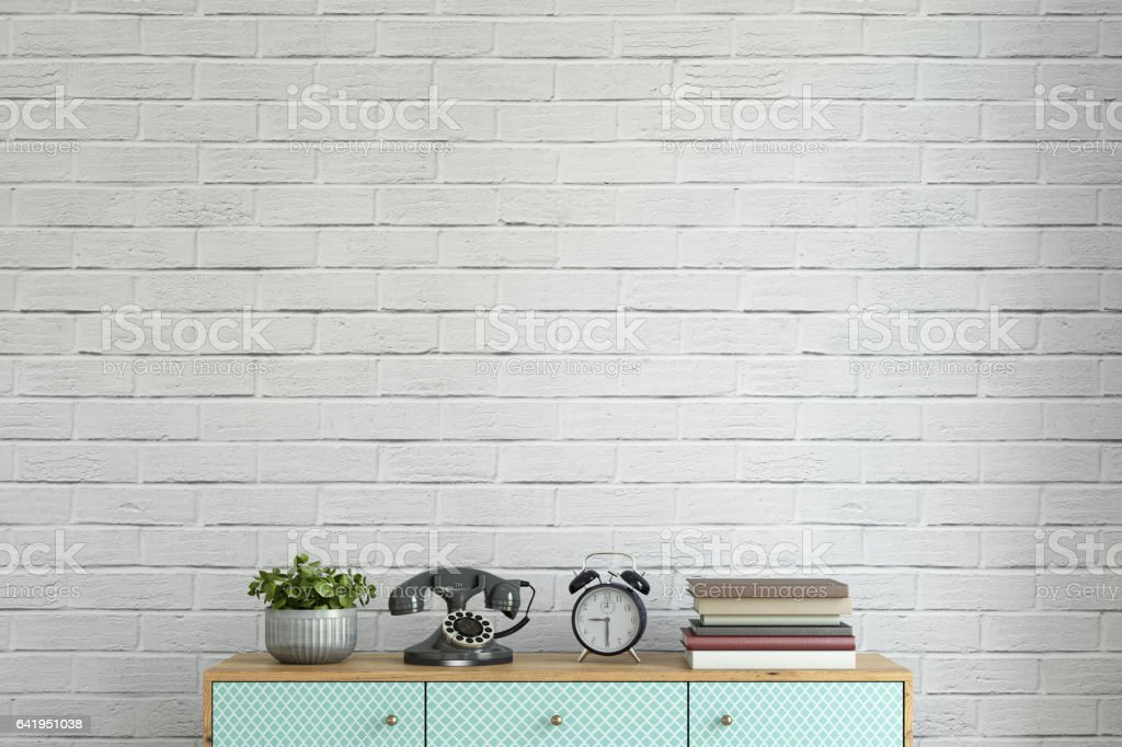 Interior hipster wall with shelf template stock photo