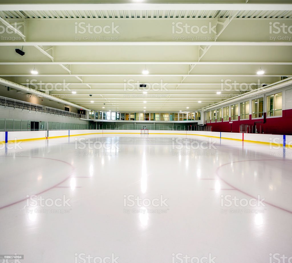 Interior hockey rink arena stock photo