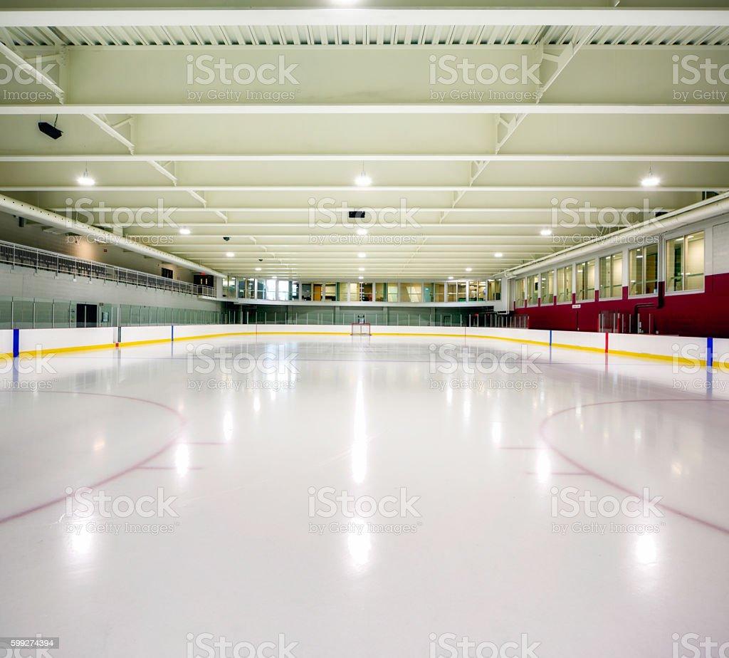 Interior hockey rink arena stock photo