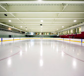 Interior hockey rink arena