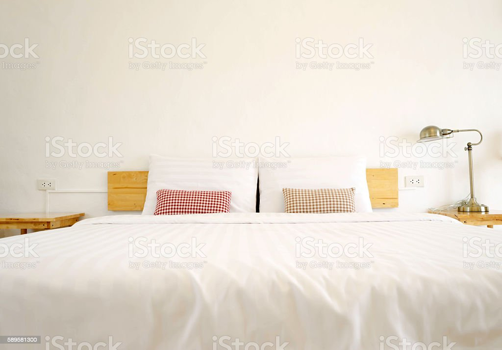 interior house, detail of modern wood bedroom stock photo