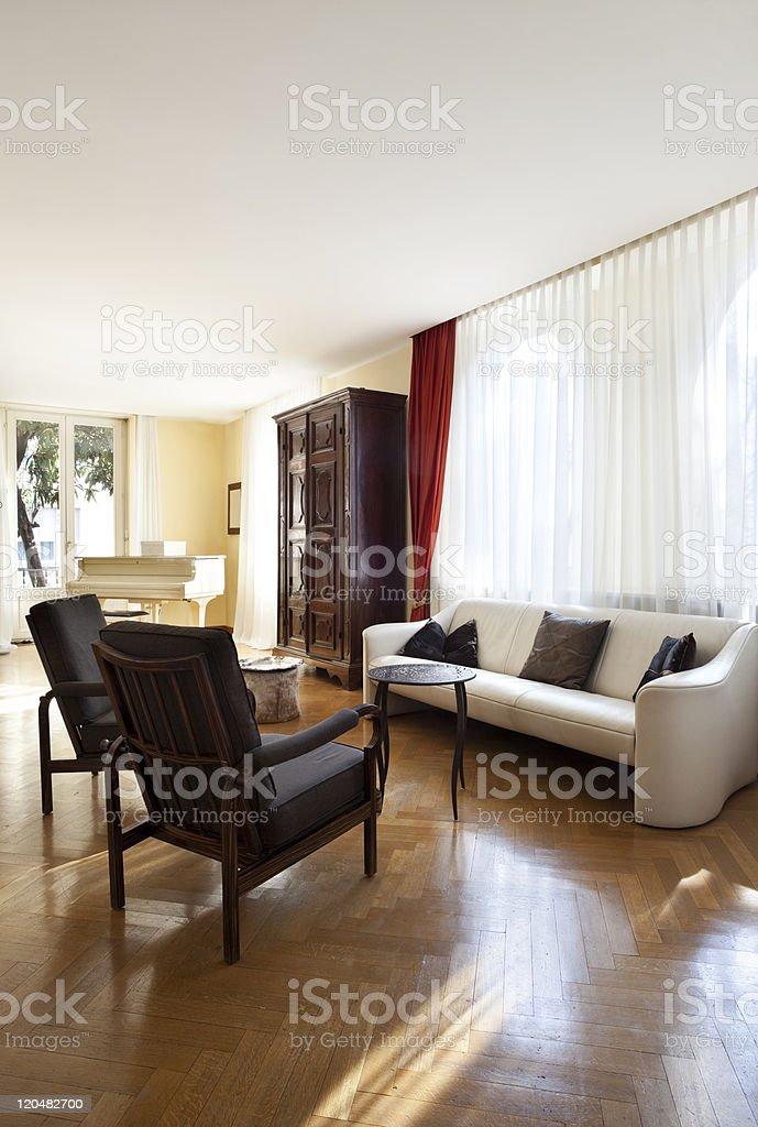 Interior house, nice livingroom classical furniture royalty-free stock photo