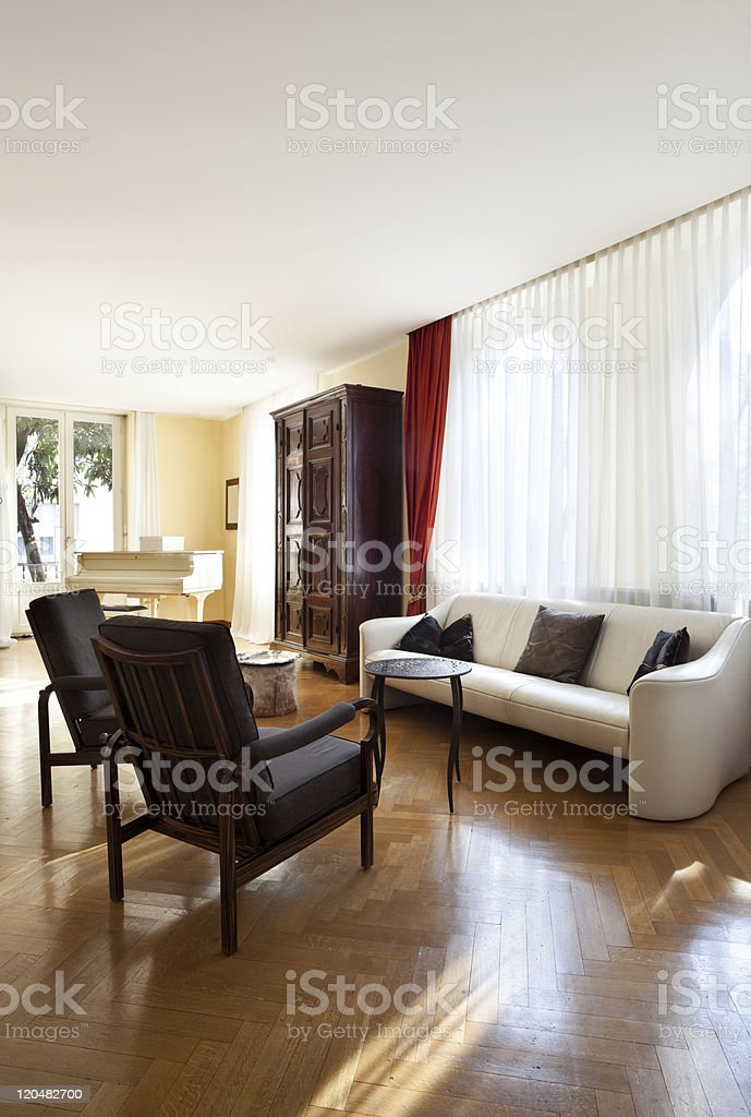 Interior house, nice livingroom classical furniture stock photo