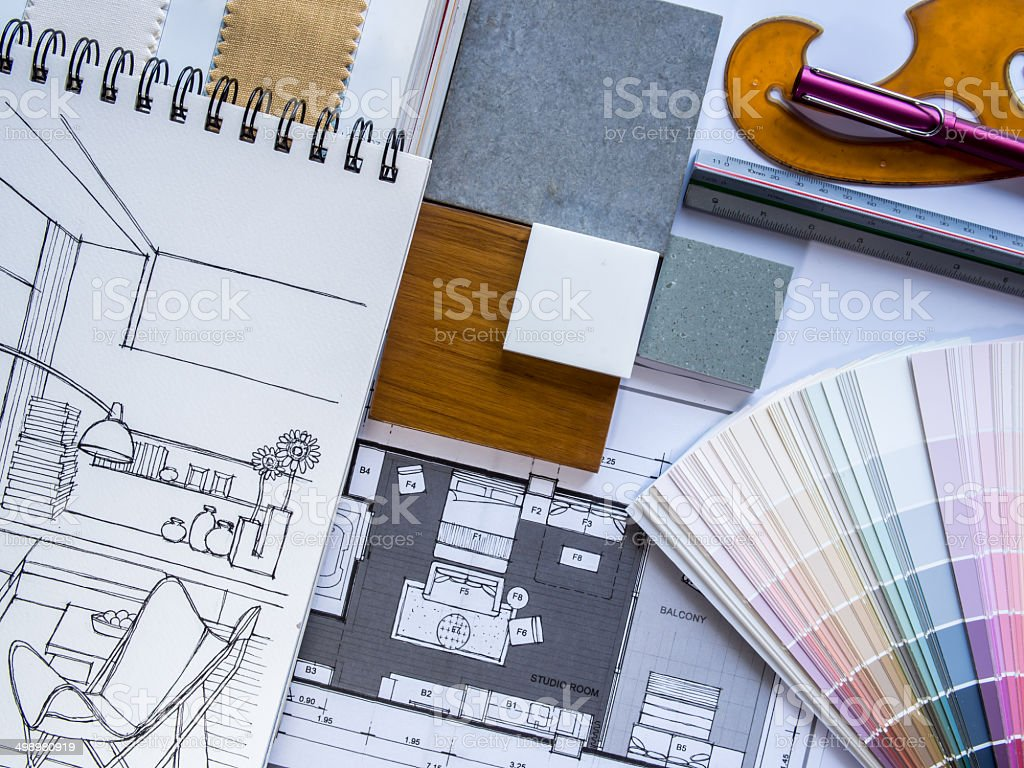 Interior illustration sketches with color swatches stock photo