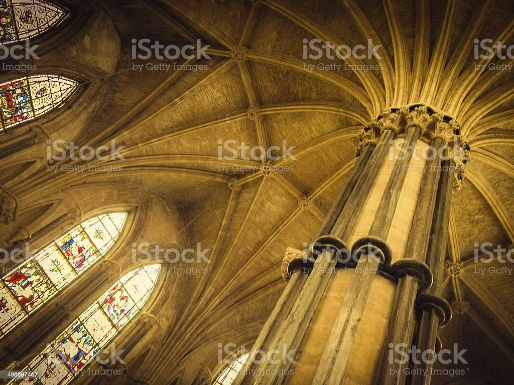 Interior image of Lincoln Cathedral Chapter House, England stock photo