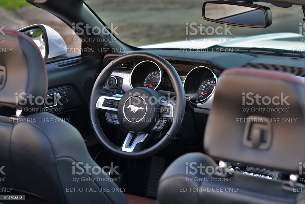 Interior in a Ford Mustang stock photo