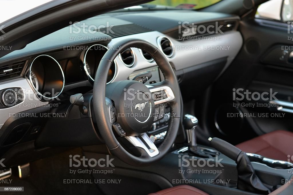 Interior in a modern cabriolet car stock photo
