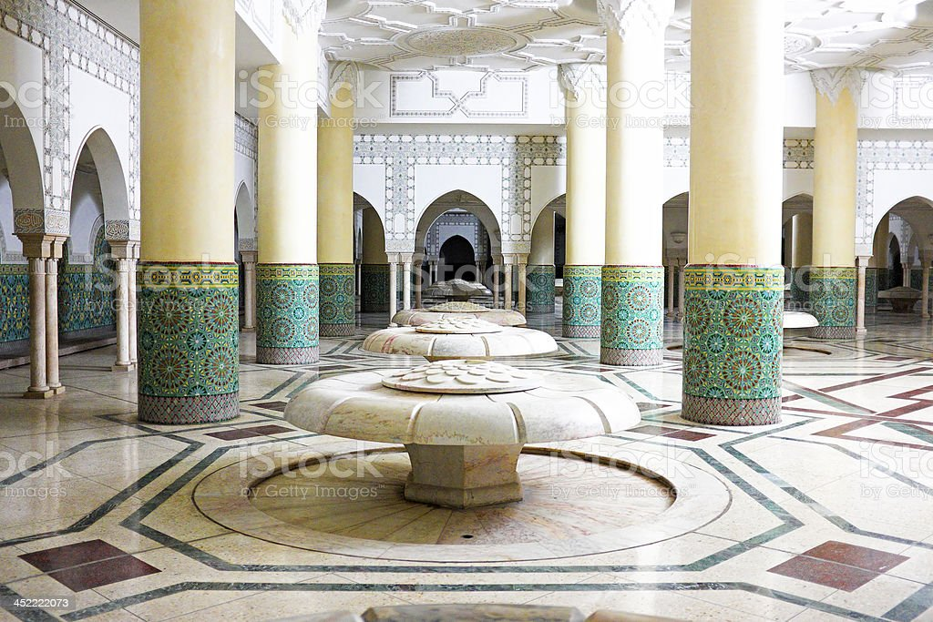 Interior in  Hassan II Mosque  Casablanca, Morocco stock photo