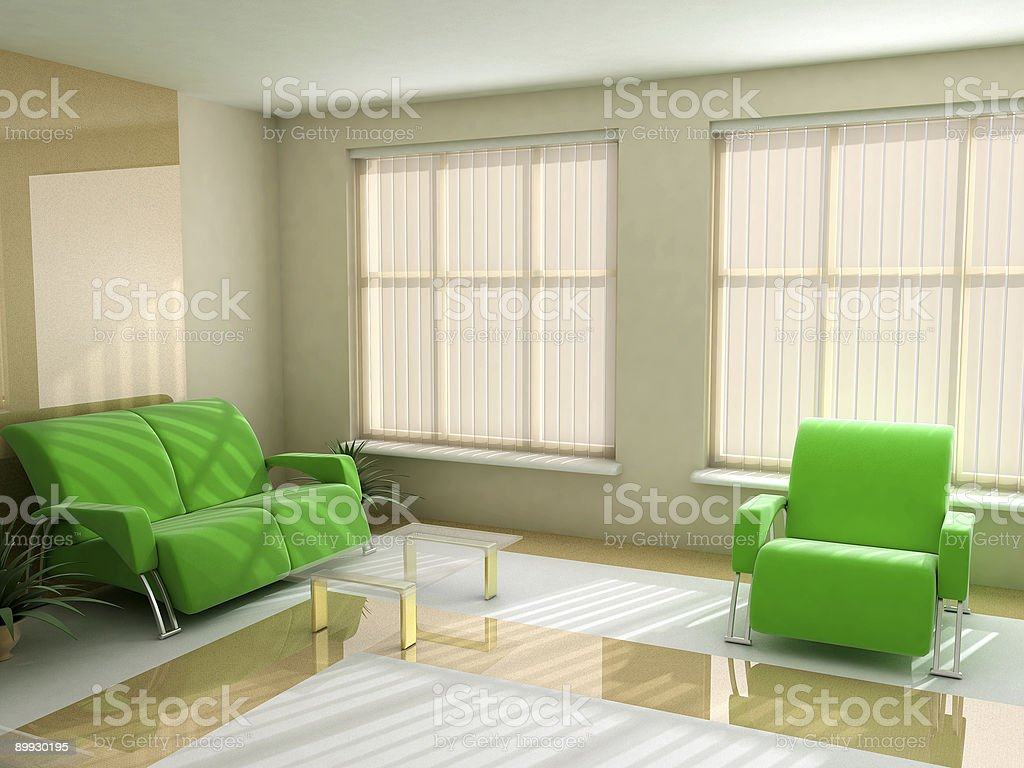 Interior in light tones sofa table window jalousie royalty-free stock photo