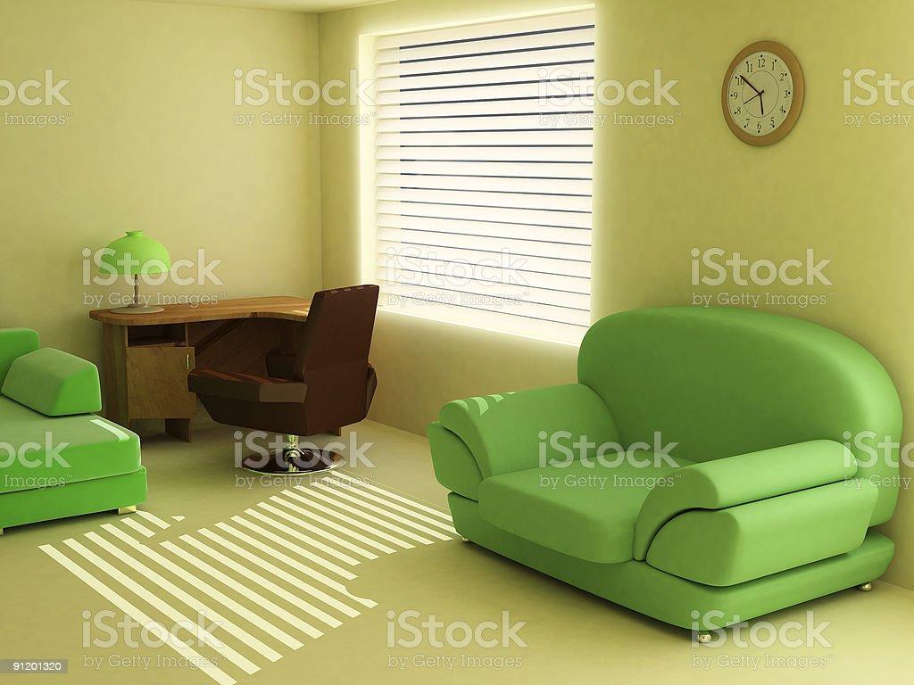 Interior in light tones sofa table window jalousie royalty-free stock photo