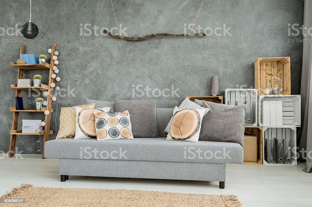 Interior in shades of cyan stock photo