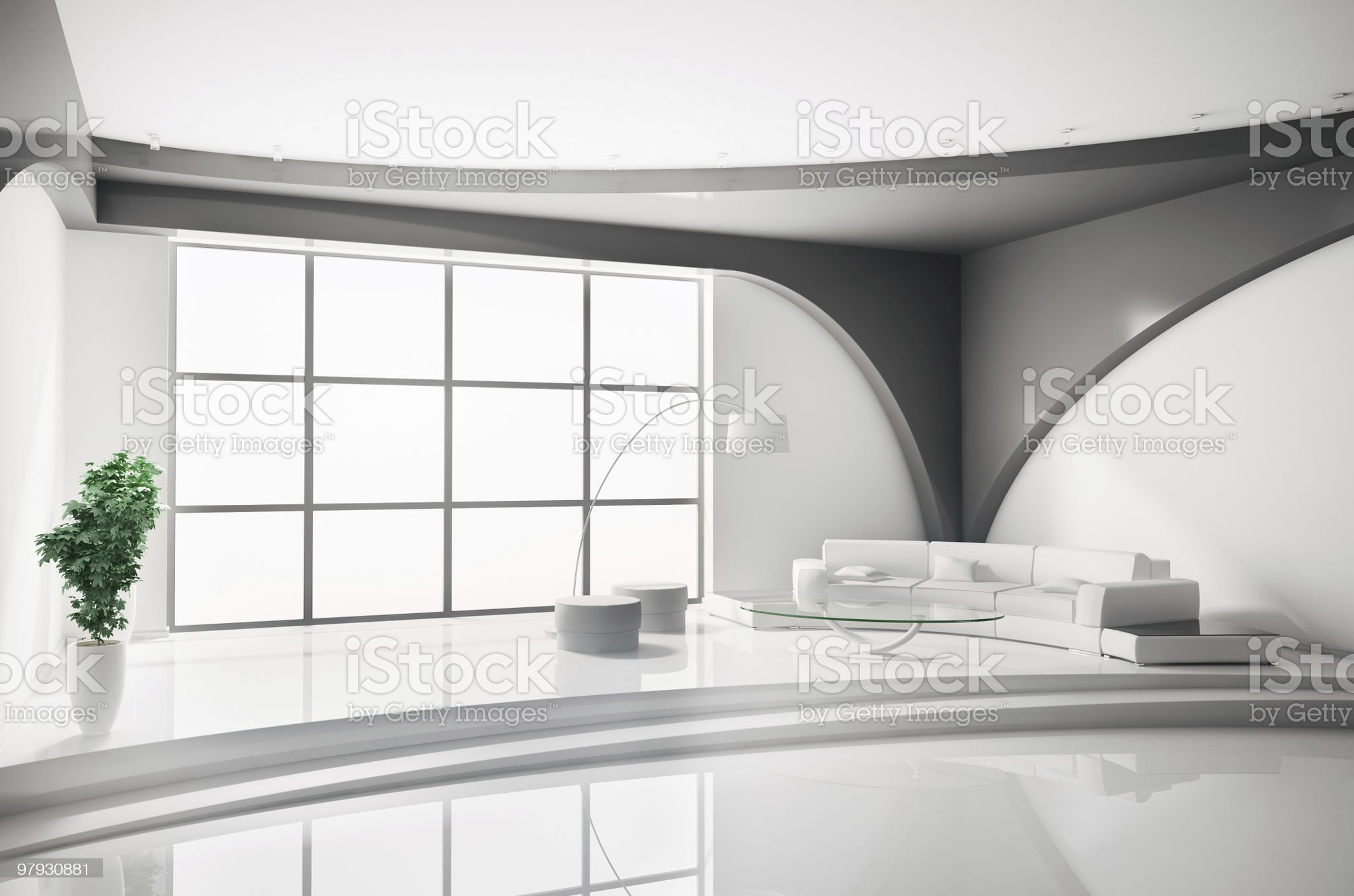 Interior in white 3d royalty-free stock photo