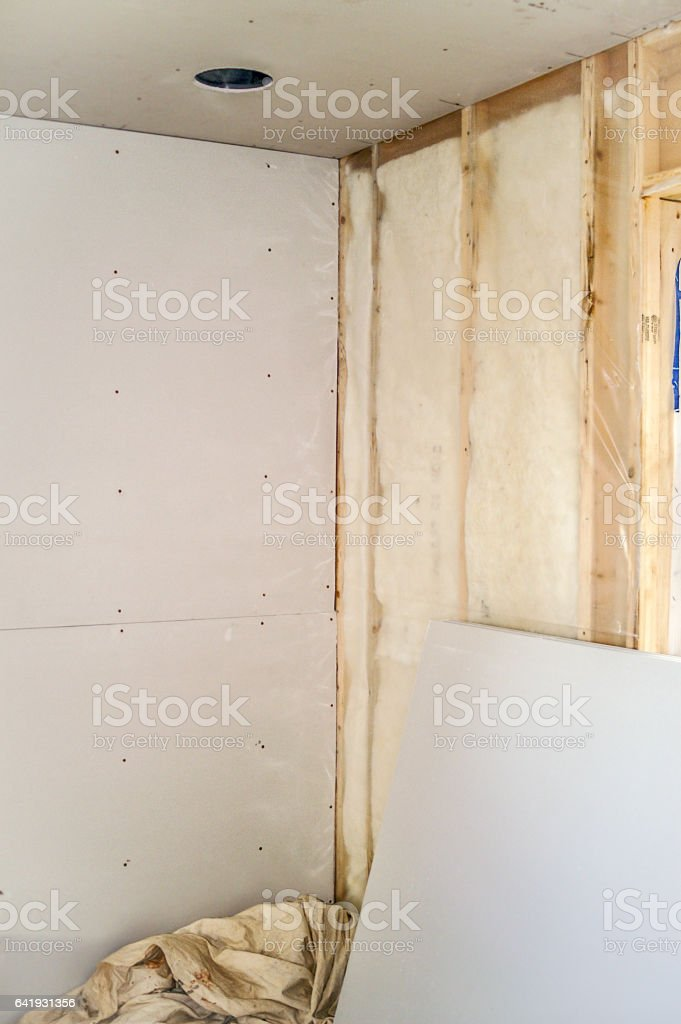 Interior Insulation and Sheetrock stock photo