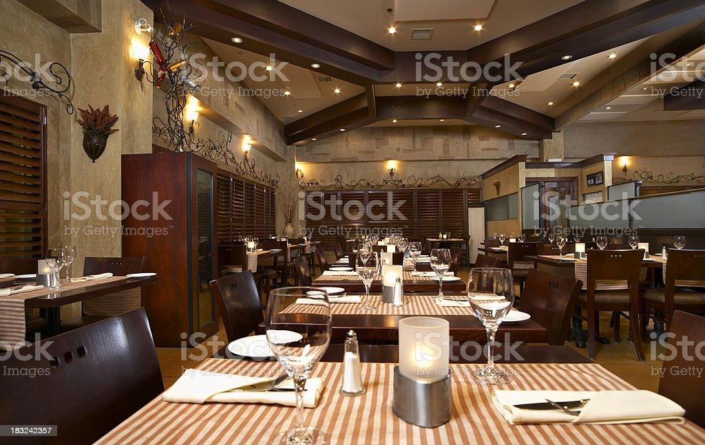 Interior Italian Restaurant at Night royalty-free stock photo