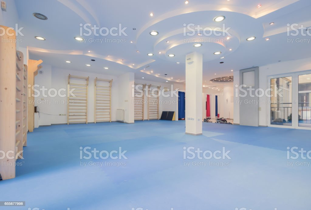 interior large room, no people, fitness gym physical therapy stock photo