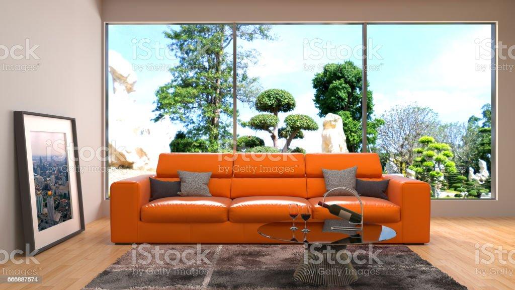 Interior living room. 3d illustration stock photo