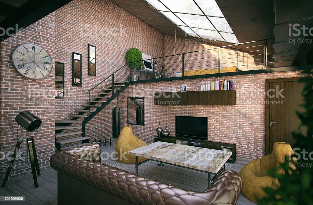 Interior loft design stock photo