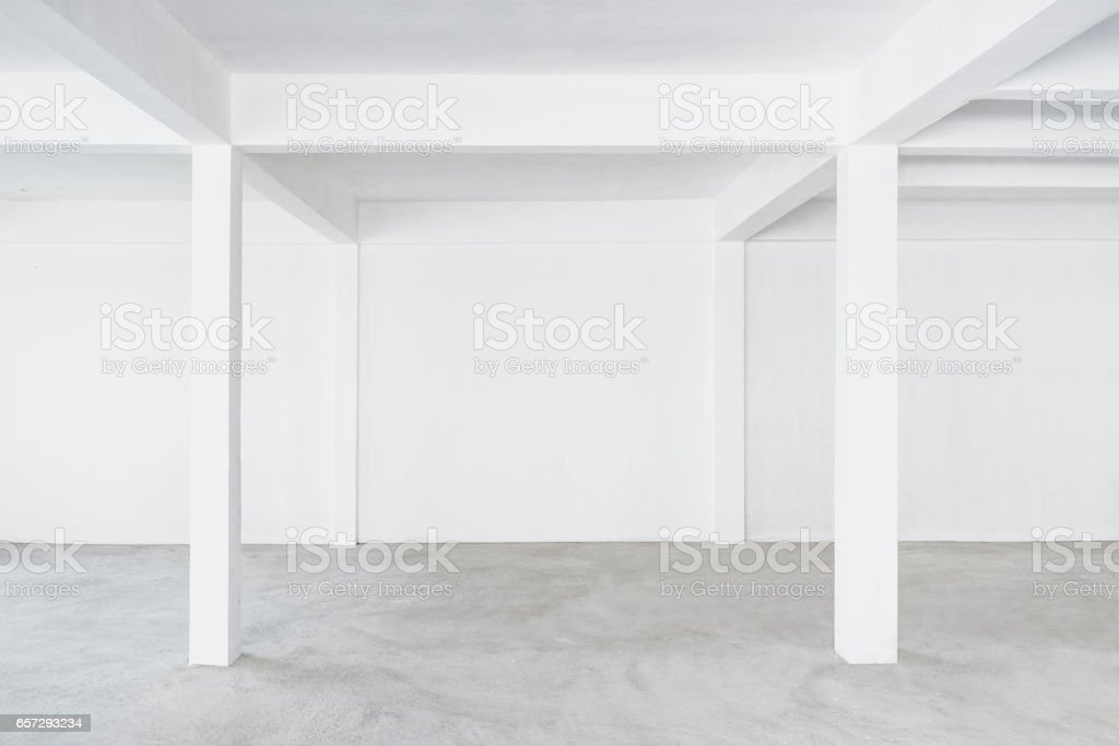 Empty Interior Loft Space Background White wall Building Concrete...