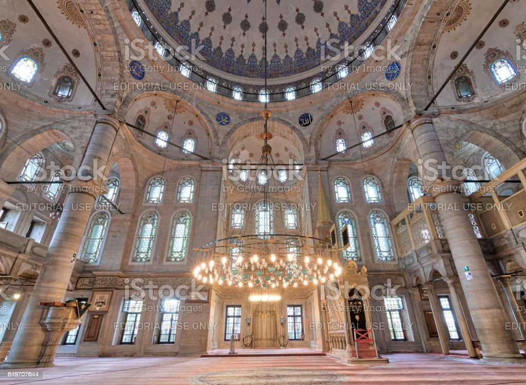 Interior low angle shot of Eyup Sultan Mosque, Istanbul, Turkey stock photo