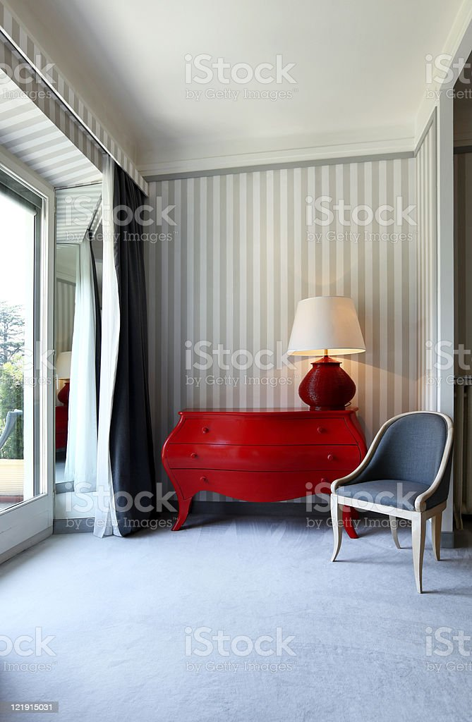 interior luxury apartment, detail room, dresser and chair stock photo