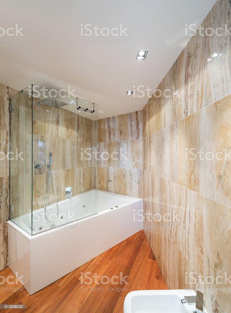 Interior, marble bathroom stock photo