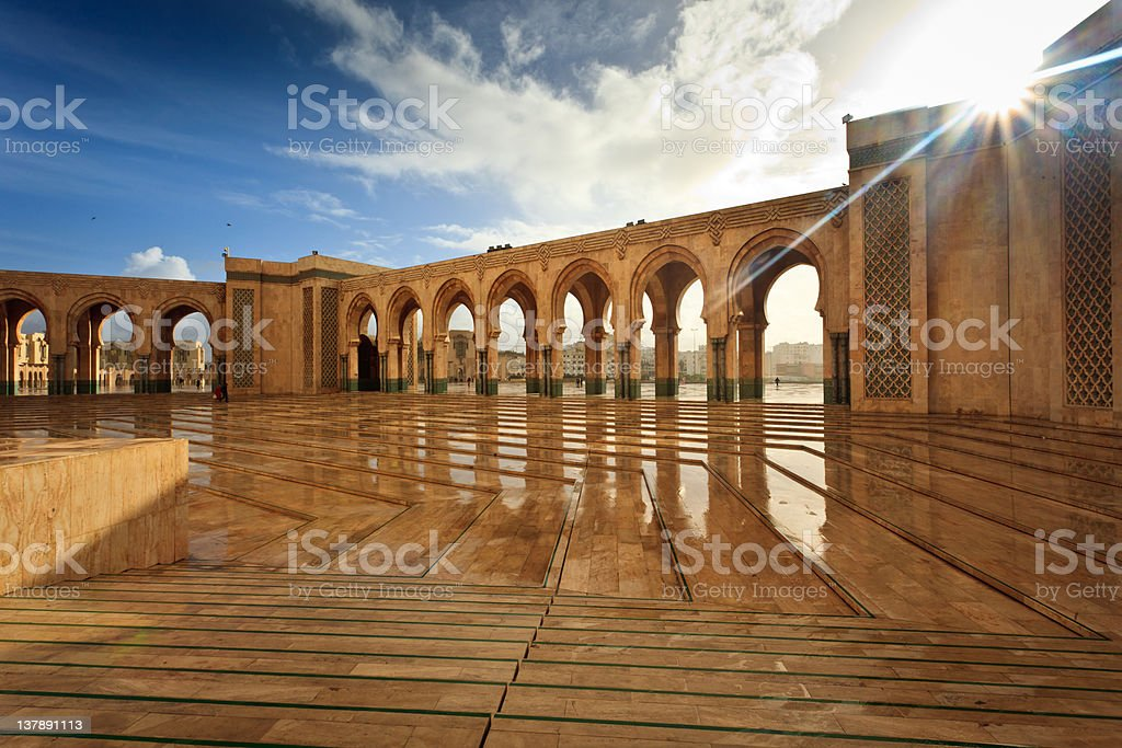 Interior Marble Courtyard of Hamman II Mosque stock photo