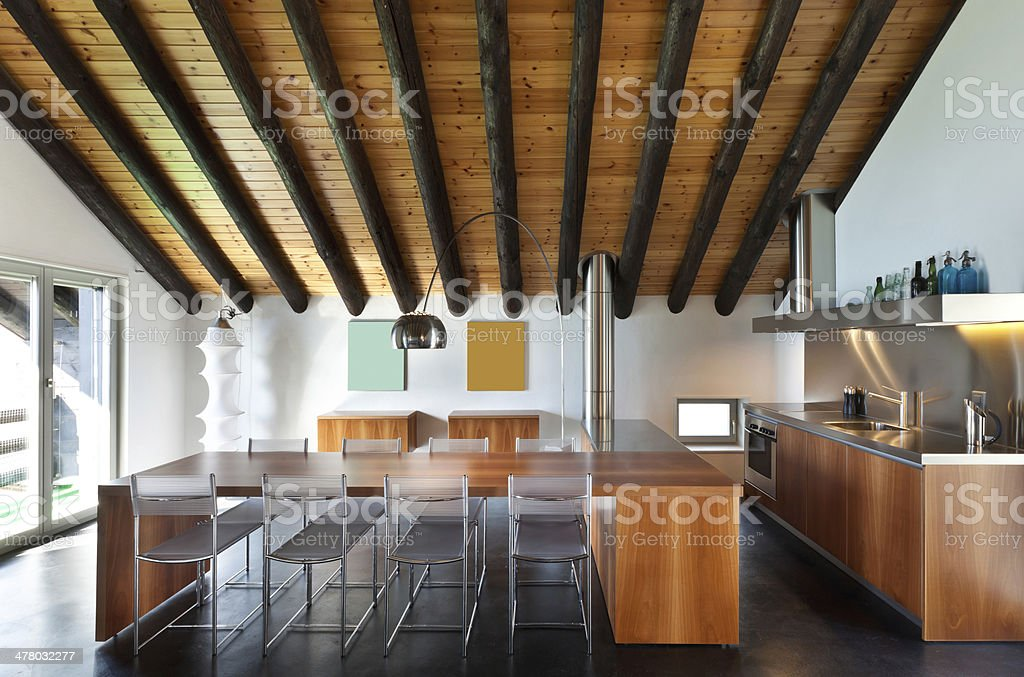 Interior, modern chalet royalty-free stock photo
