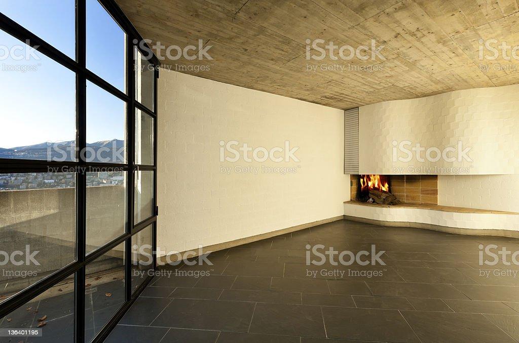 interior modern empty villa, room fireplace royalty-free stock photo